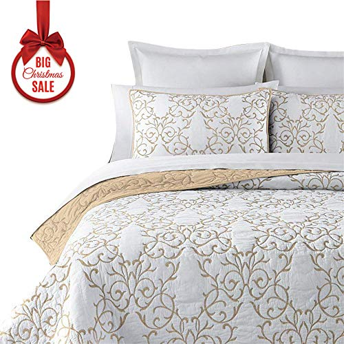 00% Cotton 3-Piece Beige Embroidery Pattern Elegant Quilt Set with Embroidered Decorative Shams Soft Bedspread&Coverlet Set-King ()