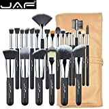 Makeup Brush Sets Professional - JAF 24pcs Vegan Taklon Synthetic Makeup Brush Sets with Gold Storage bag holder - Silver Ferrule Black Wooden Handle …