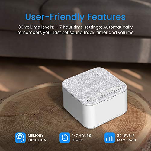 White Noise Machine, X-Sense Sleep Sound Machine with 40 Non-Looping Soothing Sounds and High Quality Speaker, 30 Levels of Volume, 7 Timer Settings and Memory Function for Home, Office and Travel by xSense (Image #4)