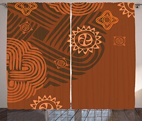 """Ambesonne Earth Tones Curtains, Composition with Floral Intricacy Folk Details, Living Room Bedroom Window Drapes 2 Panel Set, 108"""" X 84"""", Orange Brown"""
