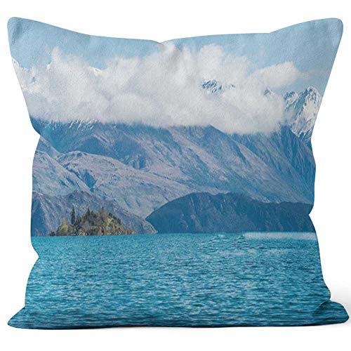 Nine City Tourist Kayaking in Lake Wanaka The fouth Largest Lake in New Zealand Throw Pillow Cushion Cover,HD Printing Decorative Square Accent Pillow Case,20