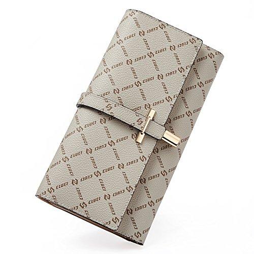 (Wallets for Women Rfid Blocking Leather Slim Luxury Ladies Clutch Purse Long Trifold Designer Credit Card&Checkbook Holder Organizer creamy white)
