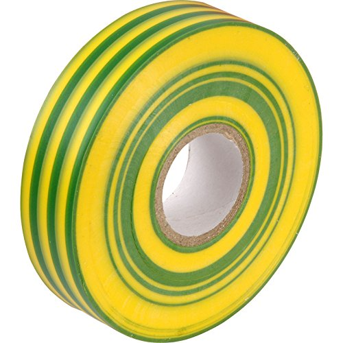 Green/Yellow (Earth) PVC Electrical Insulation Tape - 33m x 19mm - Large High Quality - Strong Roll by Gocableties