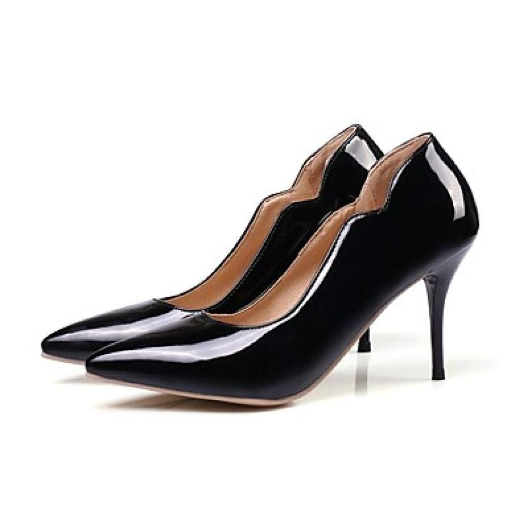 Weier. Ben Chaussures à Talons pour Femmes à à Talon Aiguille en PU (polyuréthane) Basique été Jaune Rouge Rose Tous Les Jours@Noir_US11.5   EU43   UK9.5   CN45  se hâta de voir