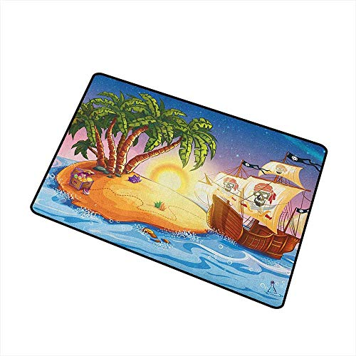 (Wang Hai Chuan Pirate Ship Welcome Door mat Ghost Ship on Exotic Sea Near Treasure Island with Palm Trees and Open Chest Door mat is odorless and Durable W31.5 x L47.2 Inch Multicolor)