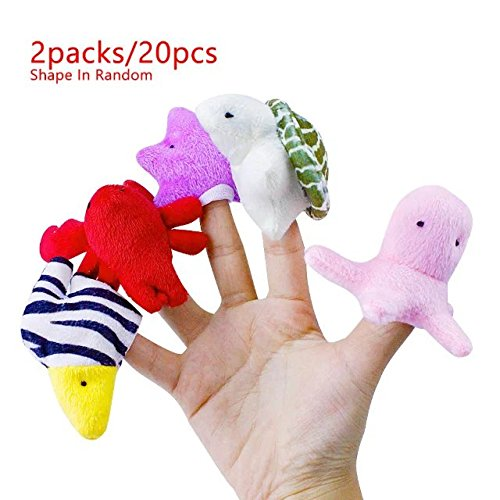 2 Packs/20 Pcs Ocean Sea Animal Finger Puppets Plush Toys Early Child Educational Baby Toys Play Fun with Finger Puppets,Best Gift for Children