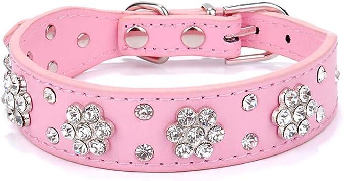 collier chien cuir rose strass