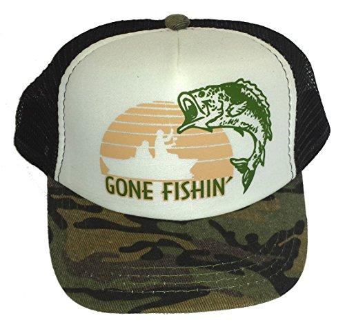ThatsRad Toddler Kid's Gone Fishin Fishing Mesh Trucker Hat Cap Camouflage Camo (Little Boy Fishing Hat)