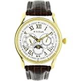 Titan Men's Classic Multifunction Round White Dial Brown Leather Strap Watch