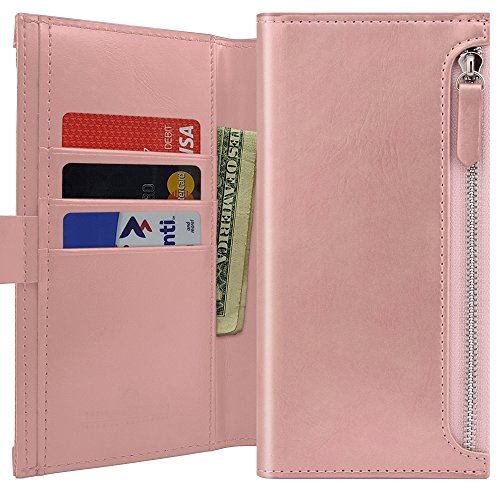 Qoosan [Zipper] Galaxy J5 Pro (2017) Wallet Case, Protective PU Leather Flip Folio Cover with [Card Holders & Coin Purse] Kickstand & Magnetic Closure for Samsung Galaxy J5 Pro 2017 - Rose Gold