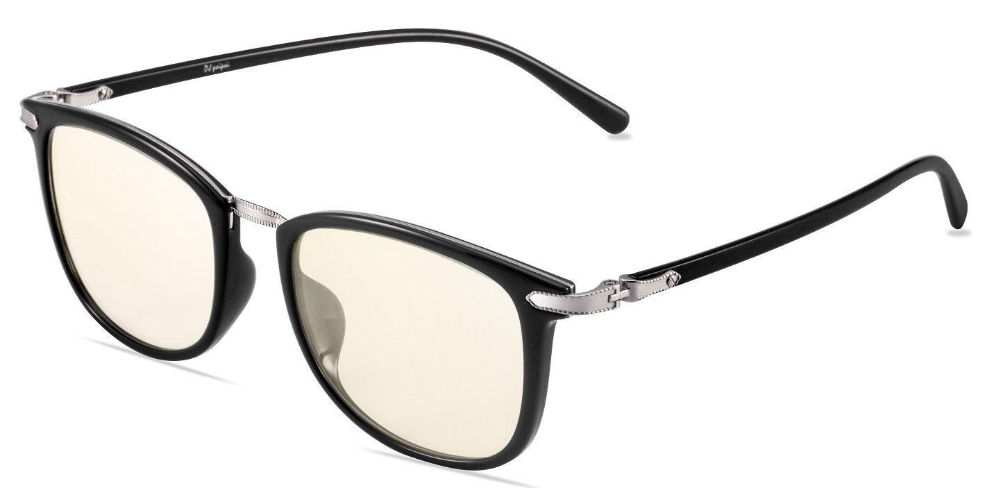 DJpeipei Premium TR90 And Metal Square Frame(Black) Gaming Glasses Computer Glasses with Amber Lens Tint Anti Blue Light Anti UV Anti Glare For Men