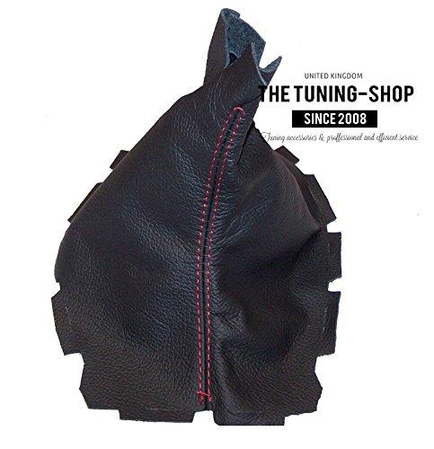 Soufflet de levier Noir cuir vé ritable Coutures rouges The Tuning-Shop Ltd