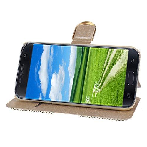 Galaxy S7 Funda, Galaxy S7 Carcasa, Moon mood® Flip Case Caso para Samsung Galaxy S7 Duro PC Interior Rhinestones Bling Funda Concha Cierre Magnético Ranura Tarjeta Funda con Tapa Cáscara Libro Soport Dorado