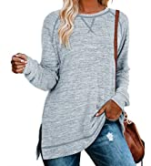 Aokosor Long Tops for Women Loose Fitting Casual Sweatshirts Maternity Tunics Blue S Fall