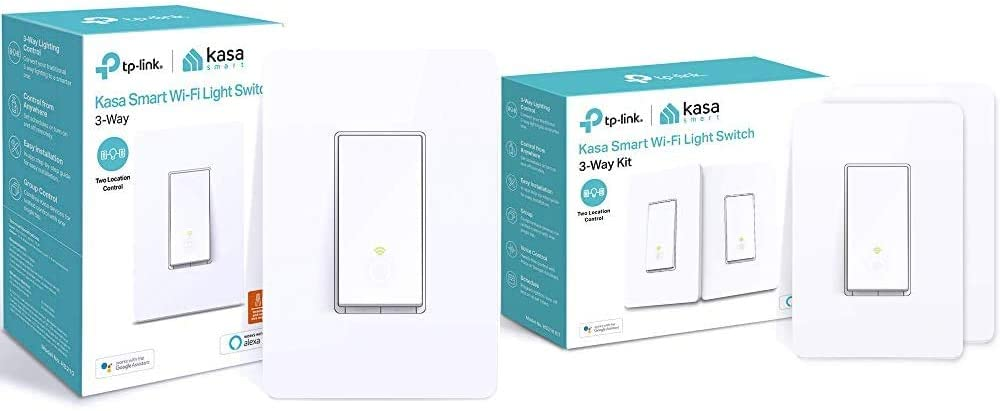Kasa 3 Way Smart Switch by TP-Link & Kasa 3 Way Smart Switch Kit by TP-Link, Wi-Fi Light Switch Works with Alexa and Google Home, Neutral Wire Required, No Hub Required, 2-Pack(HS210 KIT)