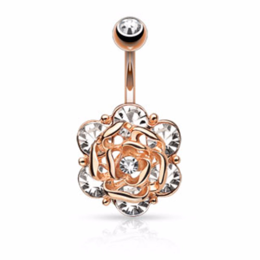 Freedom Fashion Flower Head Six Gems and Center CZ 316L S Steel Navel Ring