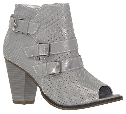 Mve Women's Pointed Ankle Silver74 Deco Mid Heel By Buckle Side Shoes Shoe Open Zipper Triple Toe Bootie Ankle high Toys rr5BqRxf