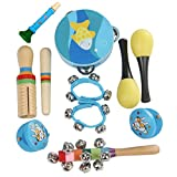 Celiy Wooden Percussion Musical Instrument Toy Set 11Pcs Educational Music Toy (Blue)
