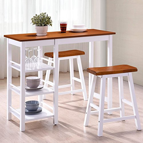 Cheap  Harper&Bright Designs Tampa Series Dining 3-Piece Table Set Counter Height with Storage..