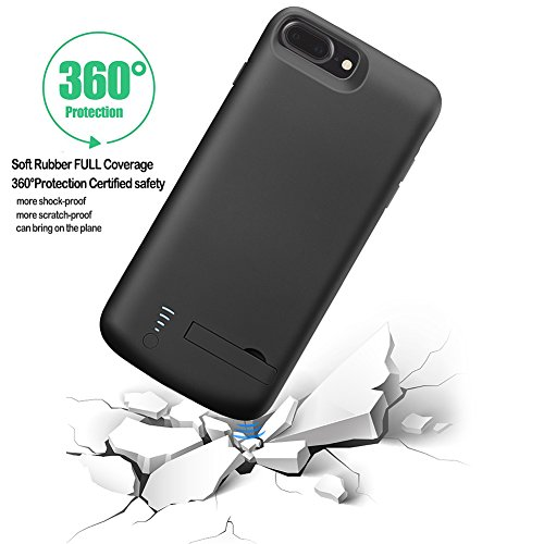 iPhone 7 Plus Battery condition Cofuture 8000mAh electricity Bank compact Extended Battery Charger condition assistance Lightning Headphone Sync by by using Pop Out Kickstand iPhone 7 Plus 8 Plus Black Battery Charger Cases