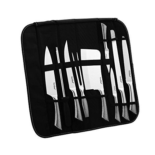 VonShef 9 Piece Assorted Kitchen Knife Carry Wrap Set With Zip Up Carry Case - Stainless Steel, Black