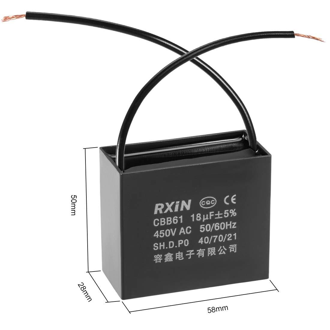 sourcing map Betriebskondensator 450V AC 18 uF Kondensator metallisiertem Polypropylenfilm