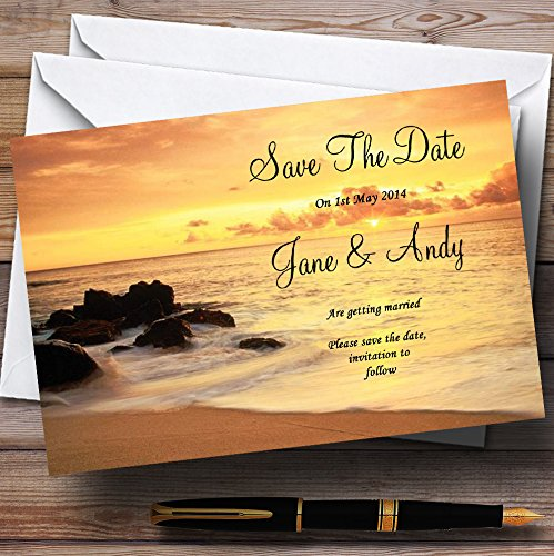 Beautiful Sunset Beach Abroad Personalized Wedding Save The Date Cards