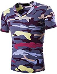 NQ Men's Short SleeveCamo Slim Fitted V-Neck Top T-shirts