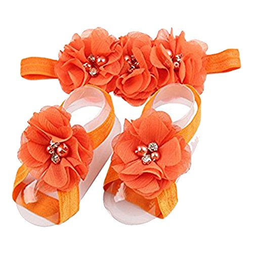 LD DRESS Baby Girl Foot Flower + Headband (Orange)
