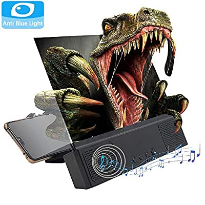 Anti-Blue Light HD Screen Magnifier 12'' with Bluetooth Speakers, 3D Phone Screen Amplifier for Movies, Videos, and Gaming, Cell Phone Magnifier Projector Screen with Foldable and Adjustable Stands
