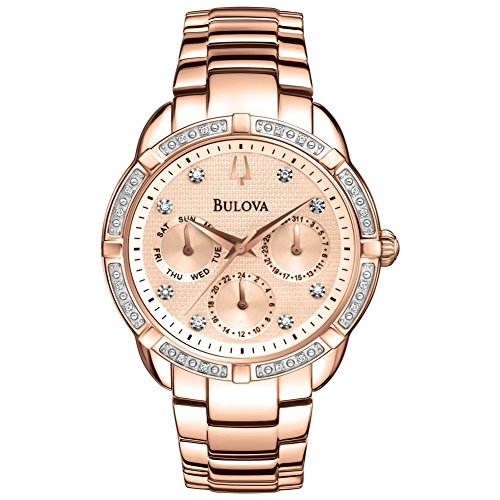 Bulova 98W178 Ladies Diamond Rose Gold Plated Chronograph Watch