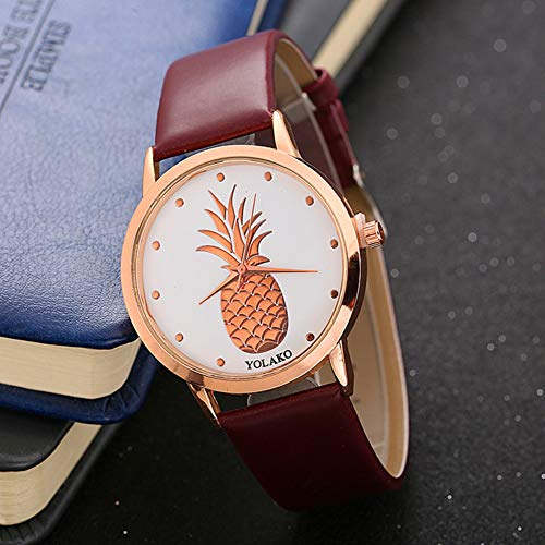Ladies Watch, Women Pineapple No Number Round Dial Faux Leather Band Analog Quartz Wrist Watch by Gaweb (Image #7)