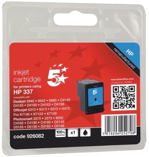 5 Star Compatible Inkjet Cartridge Page Life 390pp Black [HP No. 337 C9364EE Equivalent]