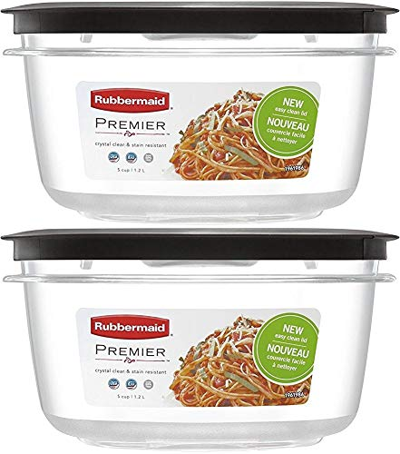 Rubbermaid 5-Cup New Premier Food Storage Container, Pack of 2 Containers