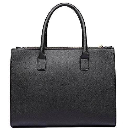 hombro Miss Women asa con superior mano de Lulu de negro Leather Look de Bolso Fashion xqAWrp4wq8