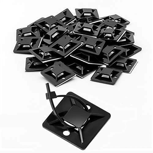 Cable Tie Mount and Zip Tie 1.1 Inch 28mm Black Large Squares Adhesive Mount, 50 Pieces.perfect for Wire Clips Cable Management Zip Tie Anchors,Durability Pro-grade UV Wire Holder (28 Mm Square)
