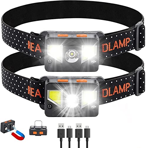 Bedee LED Headlamp Smart Dimming Flashlight 2 Pack:1200 Lumens USB Rechageable Headlight with 8 Light Mode,Waterproof&Lightweight,with Red Safety Light,for Outdoor Camping Running Cycling Fishing