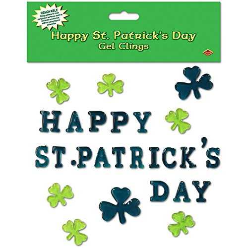 St. Patricks Day - Shamrock Glass - Window Clings 12in. x 17in. Sheet Pkg/3 - Party Supplies - (Vintage St Patricks Day Shirts)