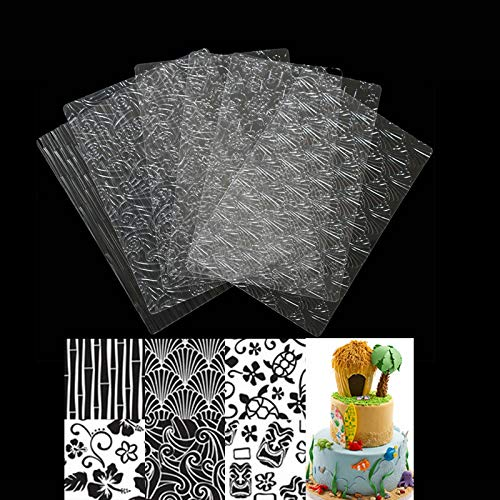1 piece 6Pcs Plastic Fondant Molds Stencil for Cake Cookies Tyre Pattern Texture Mat Cake Decorating Tool Baking Embossing Pad