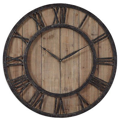 NEW Uttermost 'Powell' Aged Wood and Bronze Wall Clock