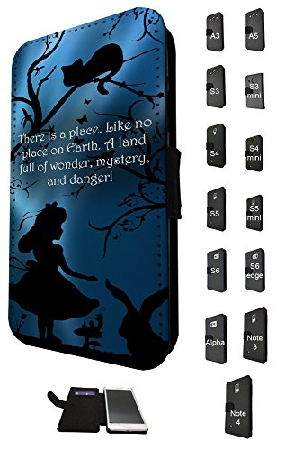628 - Alice in Wonderland Quote There is a place Like No Place on on earth Full Of Wonder Design Fashion Trend Credit Card Holder Purse Wallet Book Style Tpu Leather Flip Pouch Case Samsung Galaxy A3