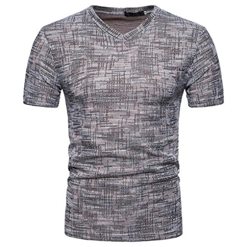 Promotions! Mens Summer Pure Brushed Short Sleeve Top Soid Hole V Neck Pullover T-Shirt by JSPOYOU (L, Coffee) -