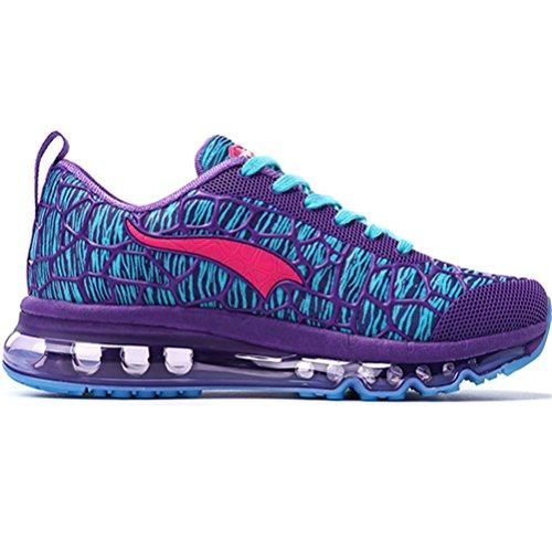 Yidiar Luchtkussenloopschoenen Voor Dames Outdoor Trainning Sportschoenen Paars / Rood