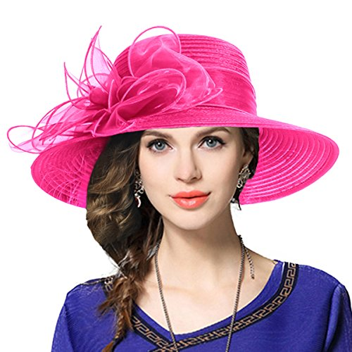 Kentucky Derby Church Dress Hat Wide Brim Leaf Flower Bridal Shower Hat (Rose)