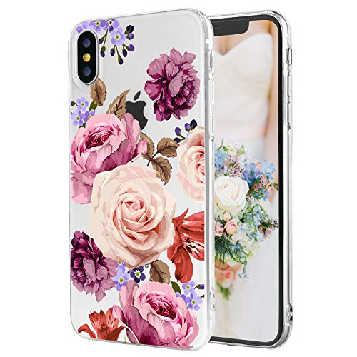iPhone X/Xs Case Rose Flower Blooming Crystal Clear Shock Absorption Soft TPU Slim Fit Back Cover Case for Women Girls [5.5