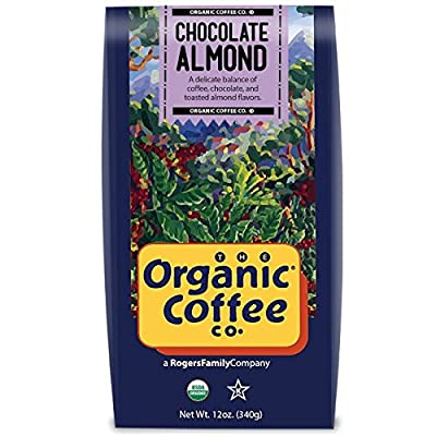 The Organic Coffee Co Chocolate Almond Whole Bean, 12 Ounce Bag, Flavored USDA Organic Whole Bean Premium Coffee, For Use with At-Home Coffee Grinders and Coffee Makers by The Organic Coffee Company