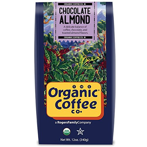 The Organic Coffee Co, Chocolate Almond- Whole Bean, 12 Ounce, Flavored, USDA Organic
