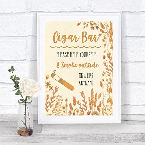 Amazon.com: Hojas de otoño Cigar Bar signo de boda ...