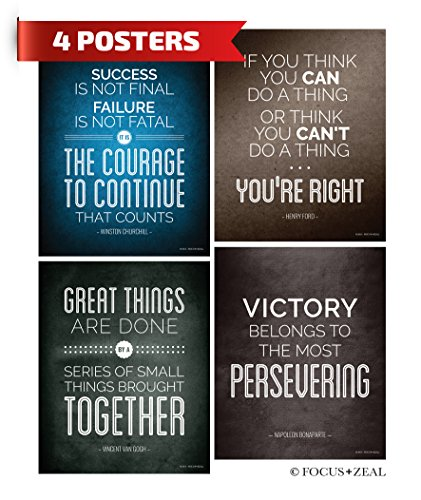 Quotes Motivational Inspirational Happiness Decorative Poster Print for Courage, Think You Can, Great Things, Victory, Persevering, Success, US History 8 x 10 Inch Set of 4 Think