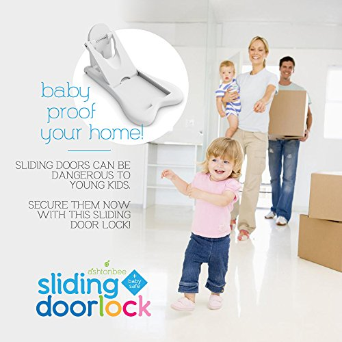 Sliding Door Lock for Child Safety - Baby Proof Doors & Closets. Childproof your Home with No Screws or Drills by Ashtonbee (Set of 2, White) by Ashtonbee (Image #1)